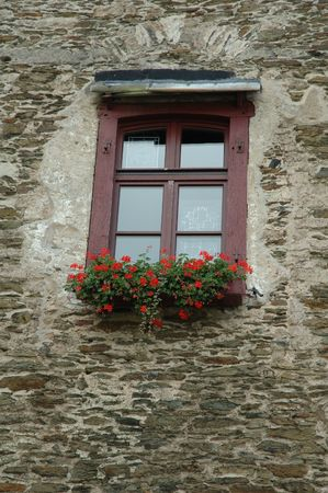 Old window of the german castle decorated by flowers photo