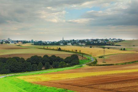 unesco: Landscape and little town Stock Photo