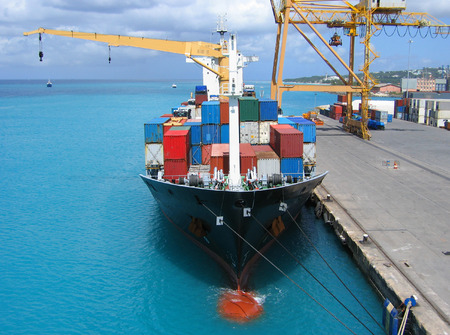loaded: Cargo ship loaded with containers