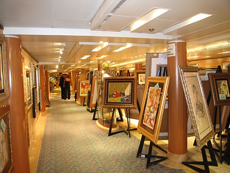 A long corridor with paintings photo