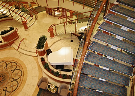 Atrium interior onboard the cruise ship Stock Photo