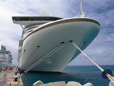 Moored cruise ship at the pier Stock Photo