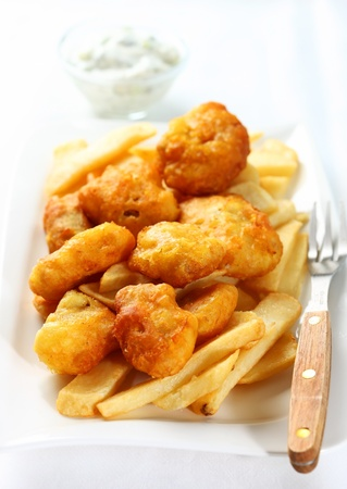 Fried fish and chips with remoulade Stock Photo - 11597389