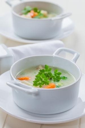 bulgur: Green vegetable soup with bulgur