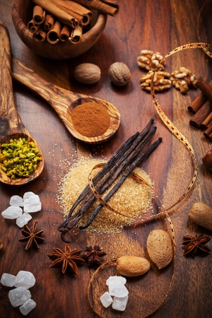 Assortment of aromatic food ingredients for baking photo