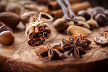 Christmas spices, nuts and baking ingredients Stock Photo - 22429061