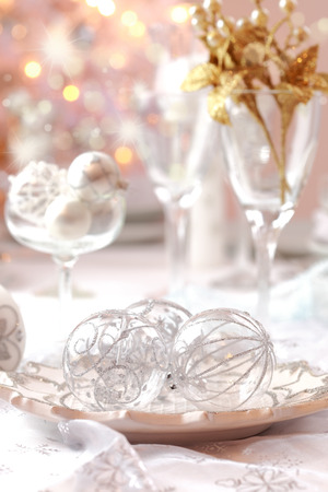 Decorated Christmas table with tree   Stock Photo - 22435249