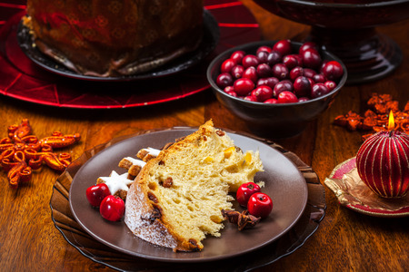 candied fruits: Panettone - traditional Italian Christmas cake