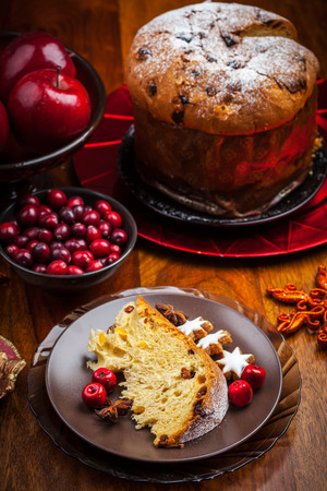 Panettone - traditional Italian Christmas cake photo