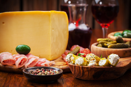 Antipasto catering platter with salami and cheese Stock Photo - 23209220