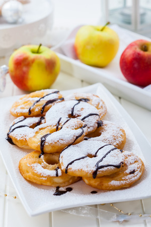 Delicious apple pancake rings for Christmas Stock Photo - 23209226