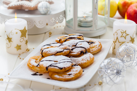 Delicious apple pancake rings for Christmas Stock Photo - 23209227