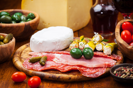 antipasto platter: Antipasto catering platter with salami and cheese Stock Photo