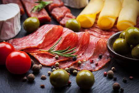 meat dish: Photo of antipasti and appetizers  Stock Photo