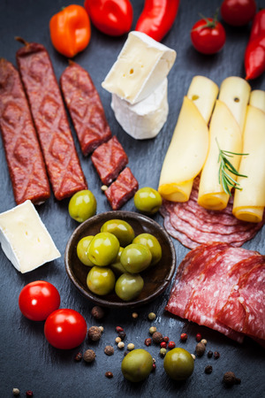 Antipasti and appetizers - top view photo