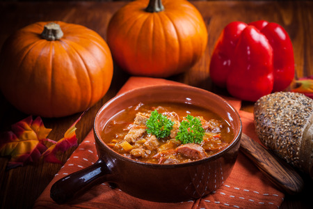 beef stew: Gourmet hearty goulash soup  - traditional Hungarian cuisine