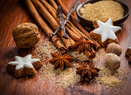 pastry cutter: Baking ingredients and spices for Christmas cookies Stock Photo
