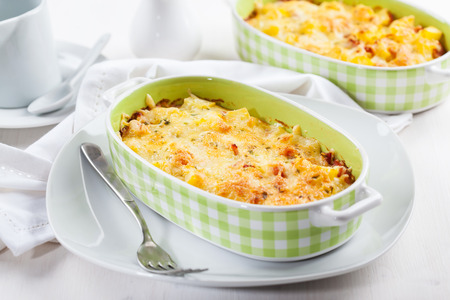 casserole: Casserole with pasta and cheese with herbs Stock Photo