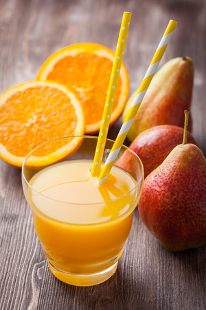 mixed vegetables: Delicious and healthy homemade smoothie with orange and pears