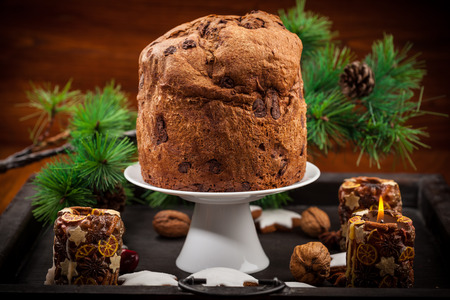 fruitcake: Chocolate panettone cake for Christmas - traditional Italian Christmas cake