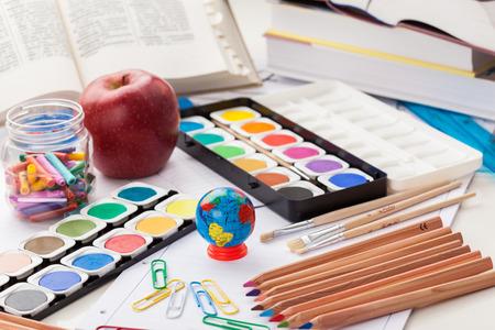 back to school supplies: Back to school - school supplies Stock Photo