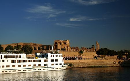 nile: A Nile Cruiser docked at the Temple of Kom Ombo on the River Nile.
