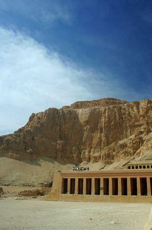 massacre: Tourists visit the Temple of Hatshepsut at Luxor, Egypt. Site of the 1997 tourist massacre.