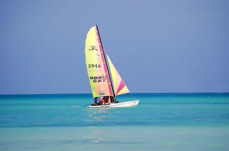 varadero: sailing boat at tropical beach Varadero, cuba