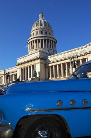 cuban culture: capitolio view at Havana cuba, vintage car