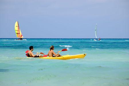 water recreation sports at a tropical beach, varadero cuba