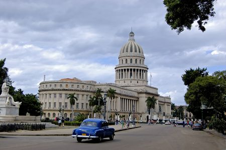 wide angle view from the Capitolio with a vintage car, at Havana, Cuba Stock Photo