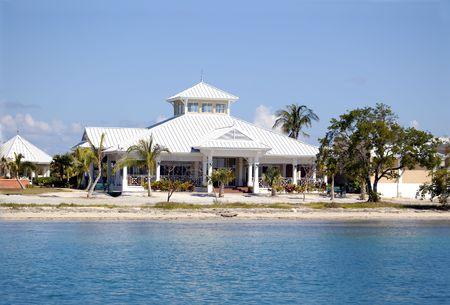 tropical house near the caribbean sea, tropical view