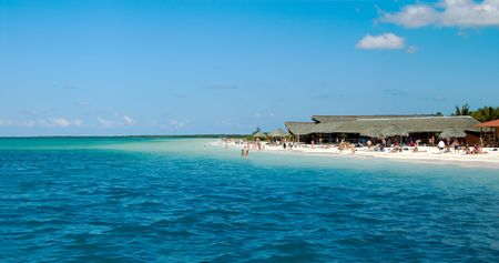 panoramic of a tropical beach, with bungalow  at cayo blanco Cuba