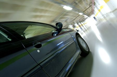 Moving car at high speed, motion sensation  Stock Photo