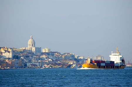 cargo boat arriving to the dock  of lisbon Stock Photo - 900653
