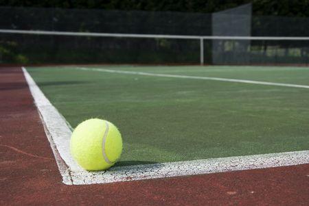 tennis ball in the a tennis court, valid ball