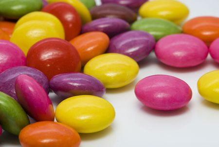 untitled key: Close-up background of multi colored smarties candy