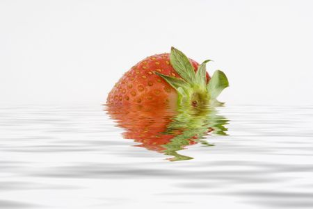 strawberry isolated in a white background sorrounded by water  Stock Photo - 1016265
