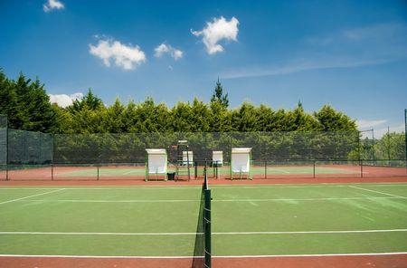 tennis court in a summer day