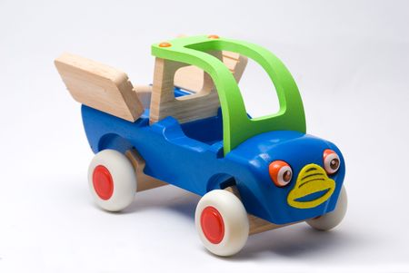 wood car happy toy isolated in white backgroundn