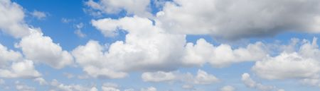 climatology: Panoramic of a wonderful blue sky, with some white clouds