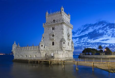 tagus: Torre de Belém is one of the most important monument of the city of lisbon, situated near the tagus river  Editorial