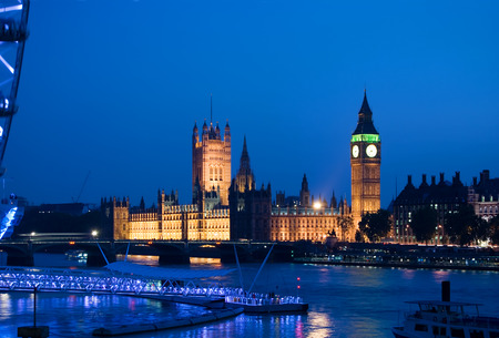 view of the london eye and big ben at dusk photo