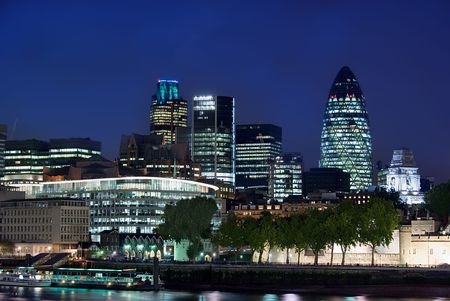 wide angle view of the city of london photo