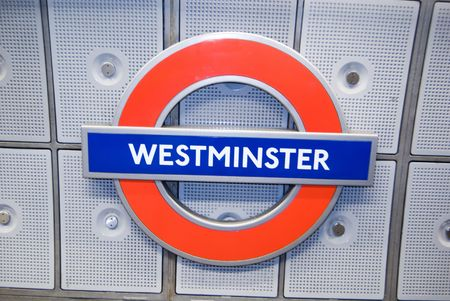 subway sing of westminster subway station  Stock Photo