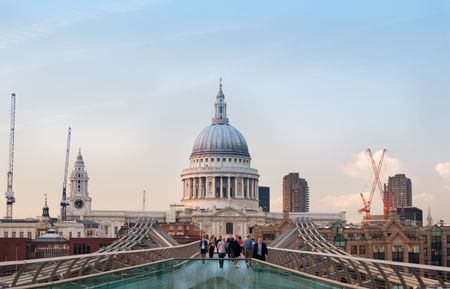 Millennium Bridge and St Paul cathedral end of the day