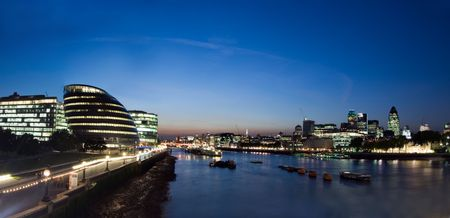 Panorama from the tower bridge of the city of london Stock Photo