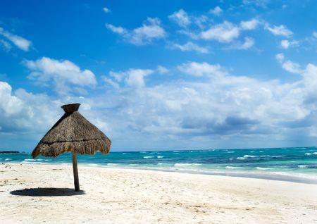 tropical beach at summer, Mexico riviera maya