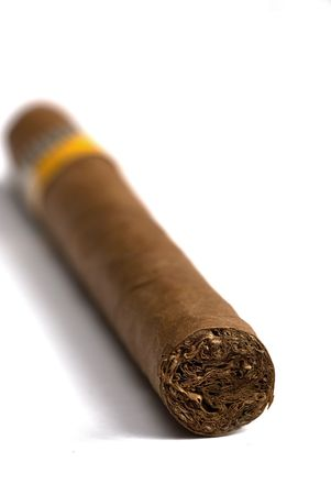macro of cuban cigars in white background Stock Photo