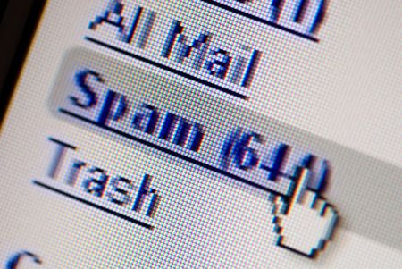 close up of a monitor screen showing 644 spaming msg Stock Photo